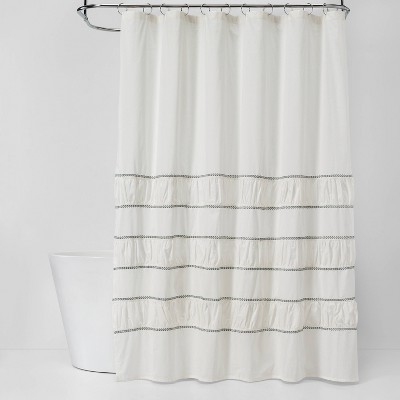 Pieced Pleated Embroidered Shower Curtain Off White - Threshold™