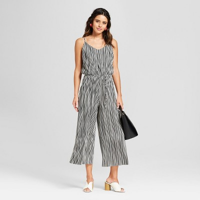 013aff9f096b Women s Strappy Stripe Belted Knit Cropped Jumpsuit - Xhilaration ...