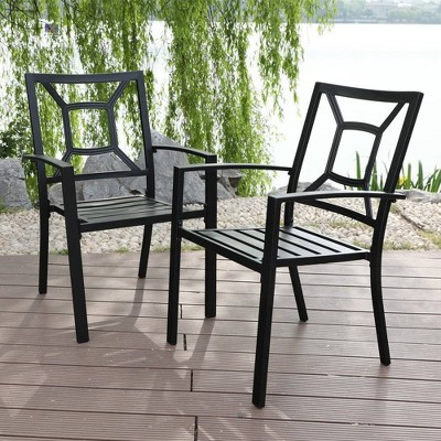 2pc Patio Stackable Metal Deck Chairs - Captiva Designs