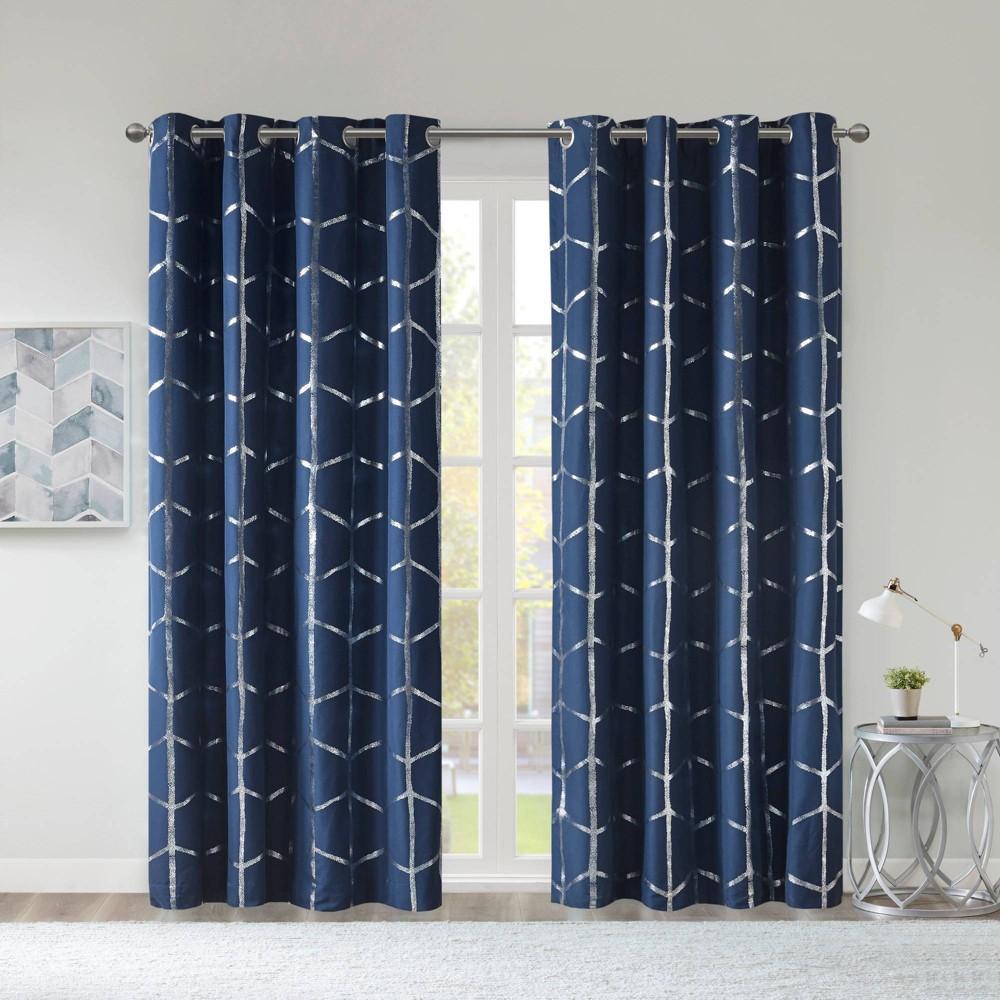 84 34 X50 34 Arielle Total Blackout Metallic Printed Curtain Panel Navy