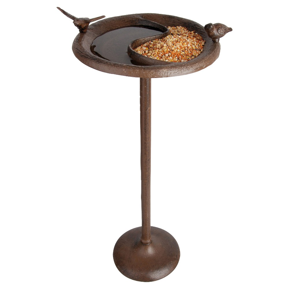 "Image of ""23"""" Cast Iron Bird Bath and Feeder - Brown - Esschert Design"""