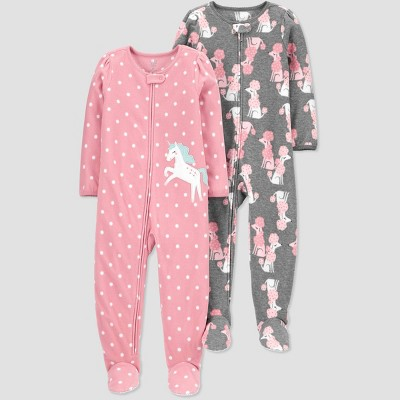 Baby Girls' Unicorn Footed Pajama - Just One You® made by carter's Gray/Pink 9M