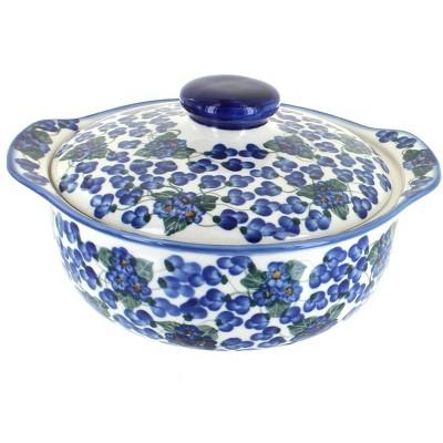 Blue Rose Polish Pottery Royal Vine Round Covered Baker