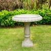 "21.9"" Concrete Lightweight Kante Traditional Textured Flower Diamond Pattern Birdbath White - Rosemead Home & Garden, Inc. - image 2 of 4"
