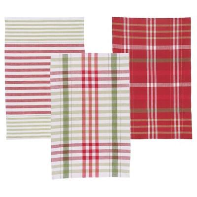 3pc Red Green White Buff Beige Kitchen Towel - Now Designs