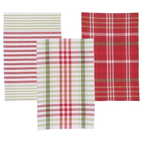 3pc Red Green White Buff Beige Kitchen Towel - Now Designs - image 1 of 2