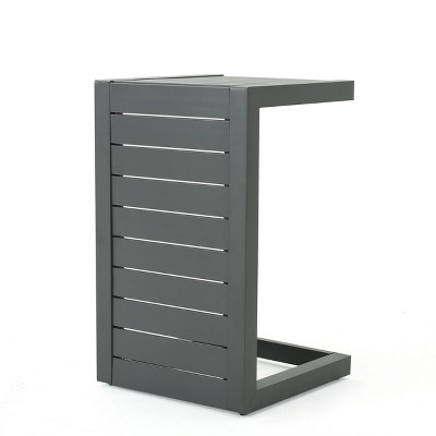 Cape Coral Aluminum C-Shaped Side Table - Gray - Christopher Knight Home