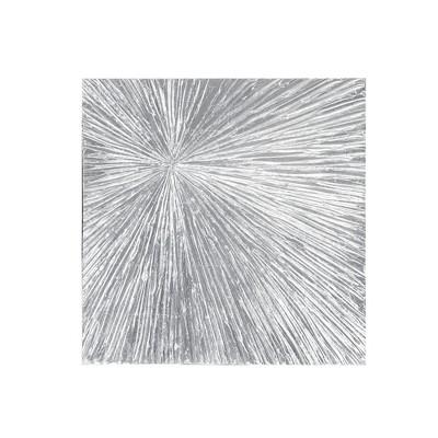"30"" Square Sunburst Silver Resin Dimensional Palm Box Silver"