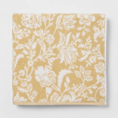 Performance Floral Texture Bath Sheet Yellow Floral - Threshold™