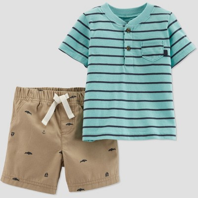 Toddler Boys' 2pc Striped Shorts Set - Just One You® made by carter's Blue/Biege 3T
