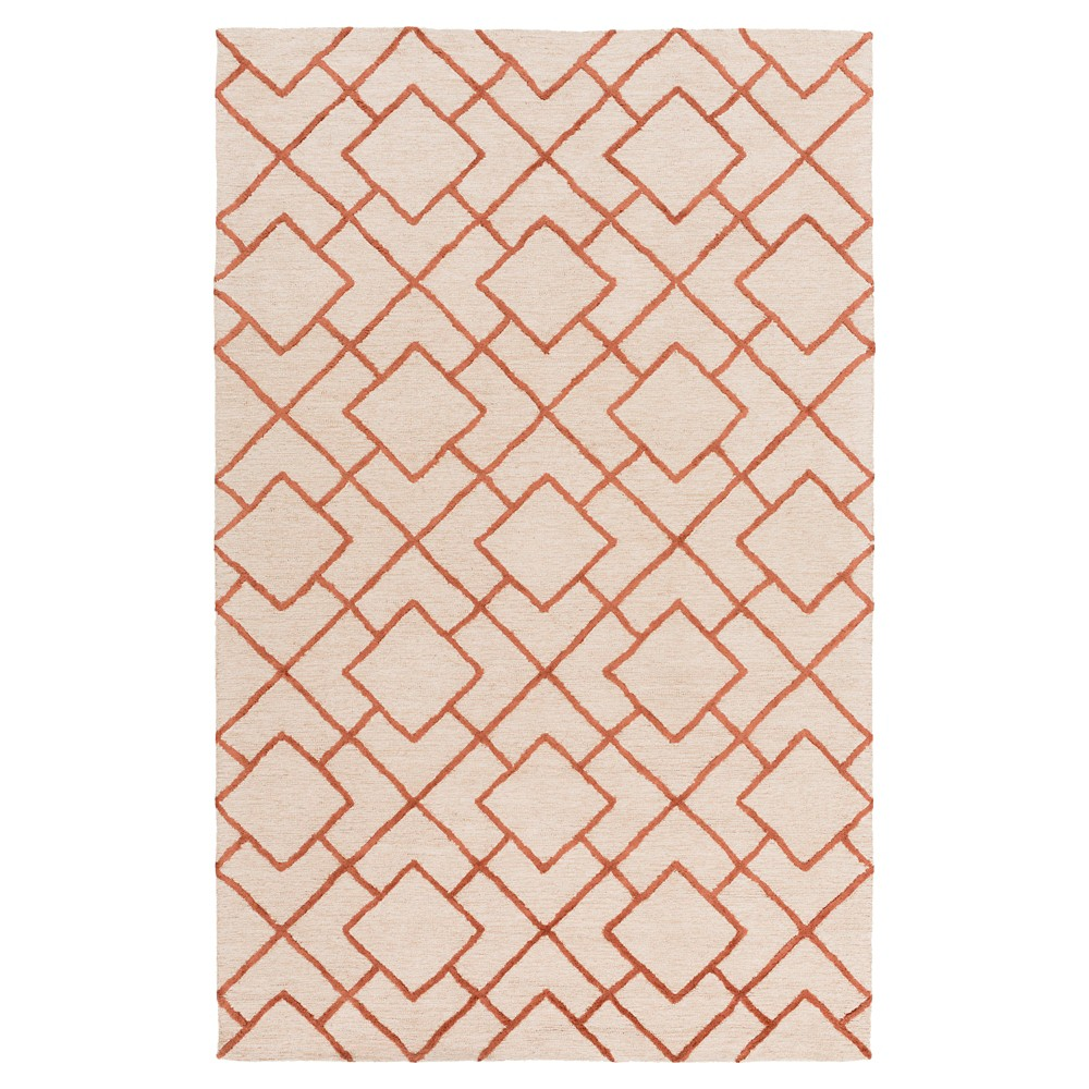Red/Khaki (Red/Green) Abstract Hooked Accent Rug - (3'X5') - Surya