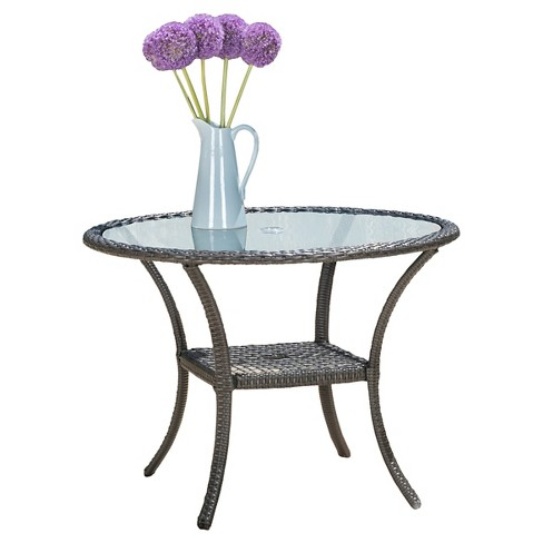 San Pico Round Wicker and Glass Table - Christopher Knight Home - image 1 of 4