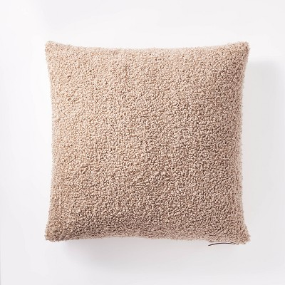 Oversized Boucle Square Throw Pillow with Exposed Zipper Taupe - Threshold™ designed with Studio McGee