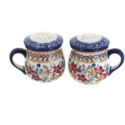 Blue Rose Polish Pottery Red Daisy Salt & Pepper Shakers with Handles