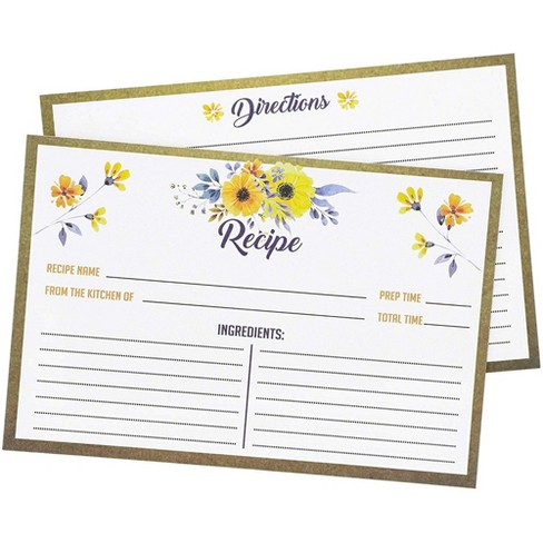 Juvale 60-Pack Kitchen Recipe Cards, Double Sided, Heavyweight Floral Flower Design, Perfect for Wedding Bridal Shower Special Occasion, 4 x 6 - image 1 of 3