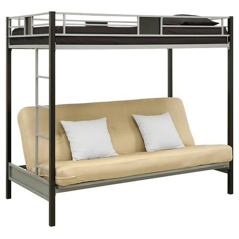Silver Screen Twin Over Futon Metal Bunk Bed Black Dorel Home Products