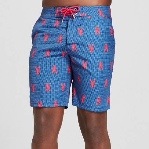 "Men's 9"" Lobster Print Swim Trunks - Goodfellow & Co™ Blue - image 1 of 3"