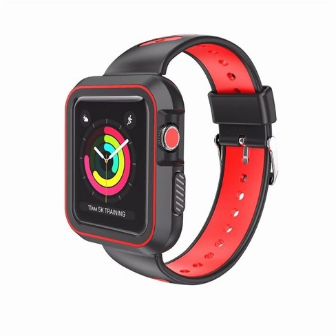 Valor Black/Red Silicone Sport Watchband with Case For Series 1/2/3 42mm Apple Watch iWatch - image 1 of 4