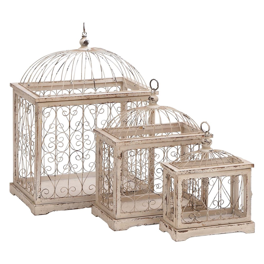 27H Iron Bird House - Taupe (Brown) - Olivia & May