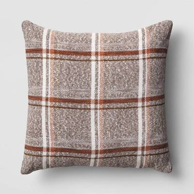 Oversized Square Plaid Throw Pillow Brown - Threshold™