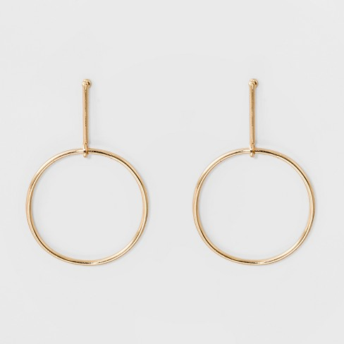 Bar Hanging Circle Post Top Earrings A New Day Gold