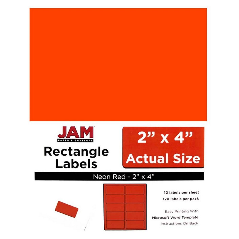 """Image of """"JAM Paper Mailing Labels 2"""""""" X 4"""""""" 120ct - Neon Red"""""""