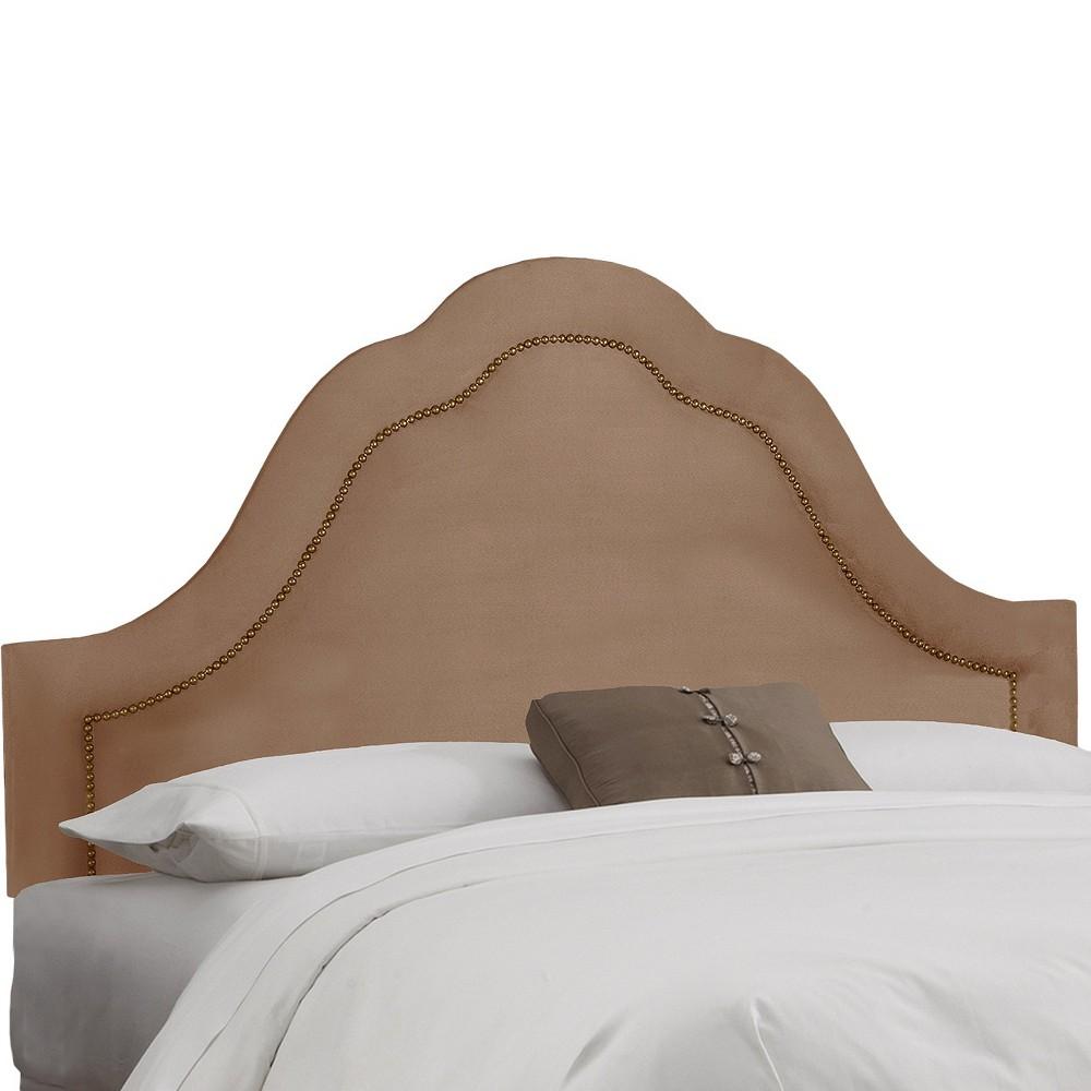 Skyline Custom Upholstered Arch Inset Nail Button Headboard - Queen - Skyline Furniture, Velvet Cocoa
