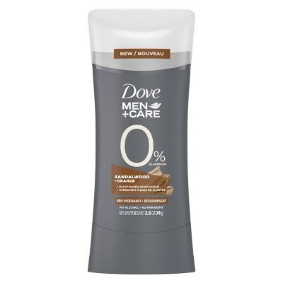 Dove Men+Care 0% Aluminum Deodorant Stick Sandalwood & Orange - 2.6oz