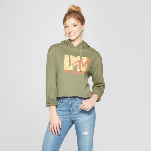 Women's Mtv Cropped Hoodie - (juniors') Green XL