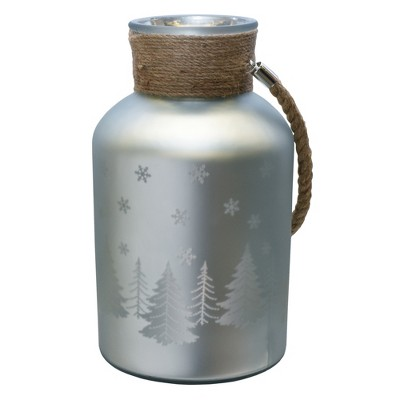 """Northlight 12"""" Christmas Trees and Snowflakes Pillar Candle Holder with Handle - Matte Silver"""