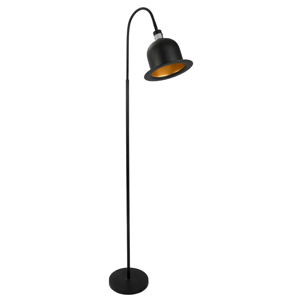 Image of Charlie Industrial Floor Lamp Black and Gold (Lamp Only) - Lumisource
