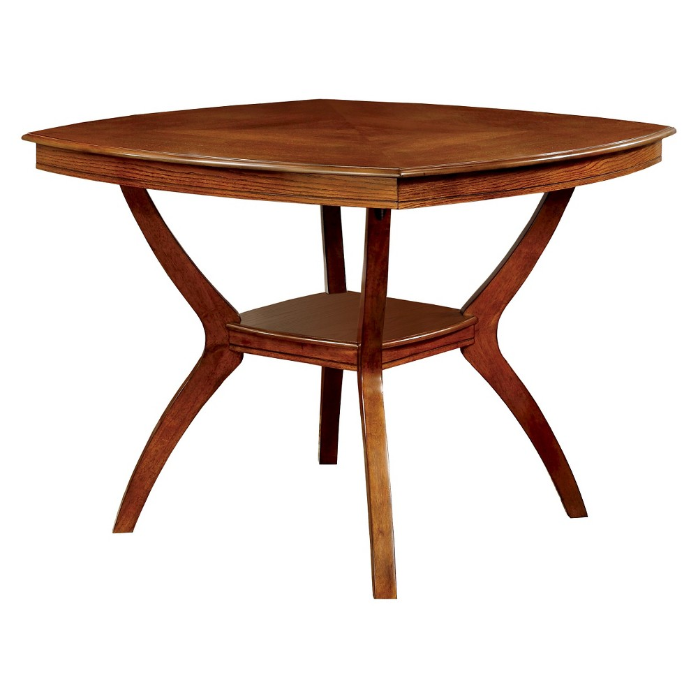ioHomes Rounded Square Counter Dining Table With Bottom Shelf Wood/Oak