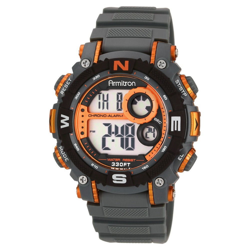 Image of Men's Armitron Digital and Chronograph Textured Sport Resin Strap Watch - Gray, Size: Small, Orange Black