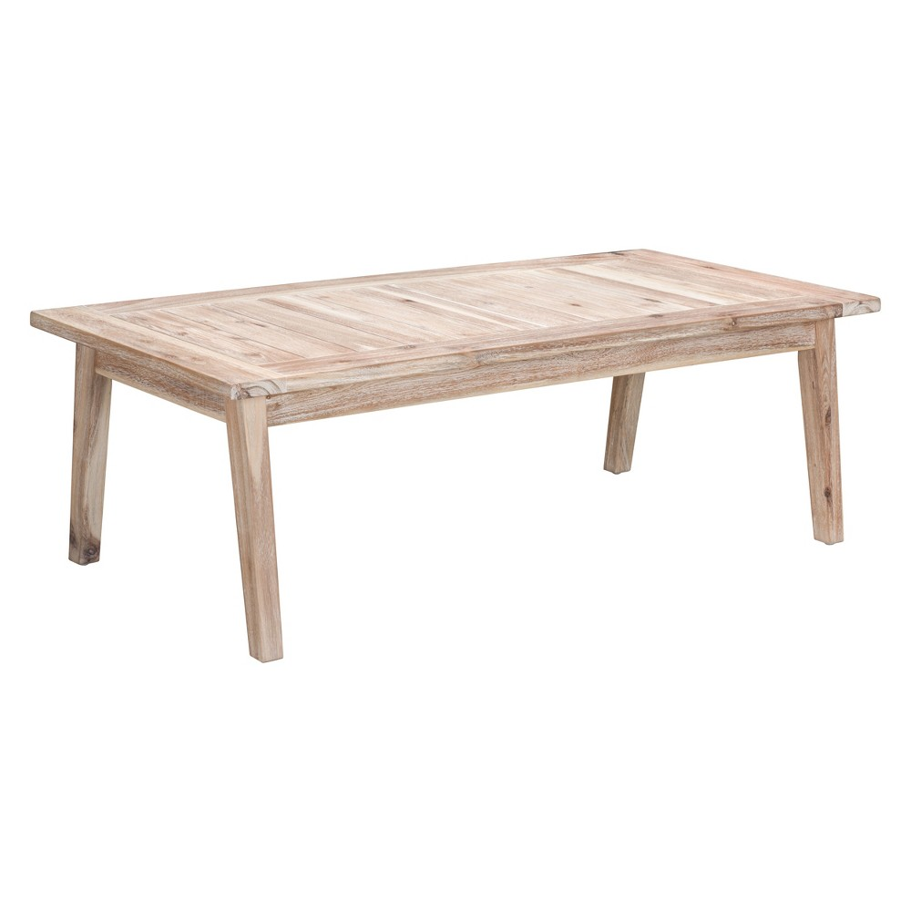 47 Coastal Outdoor Coffee Table White Wash - ZM Home