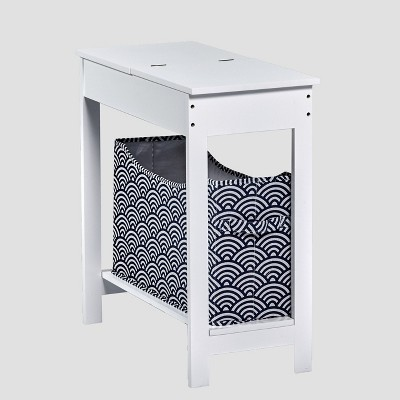 Lakeside Side Table with Fashion Print Storage Bin - Wood with Fabric Basket