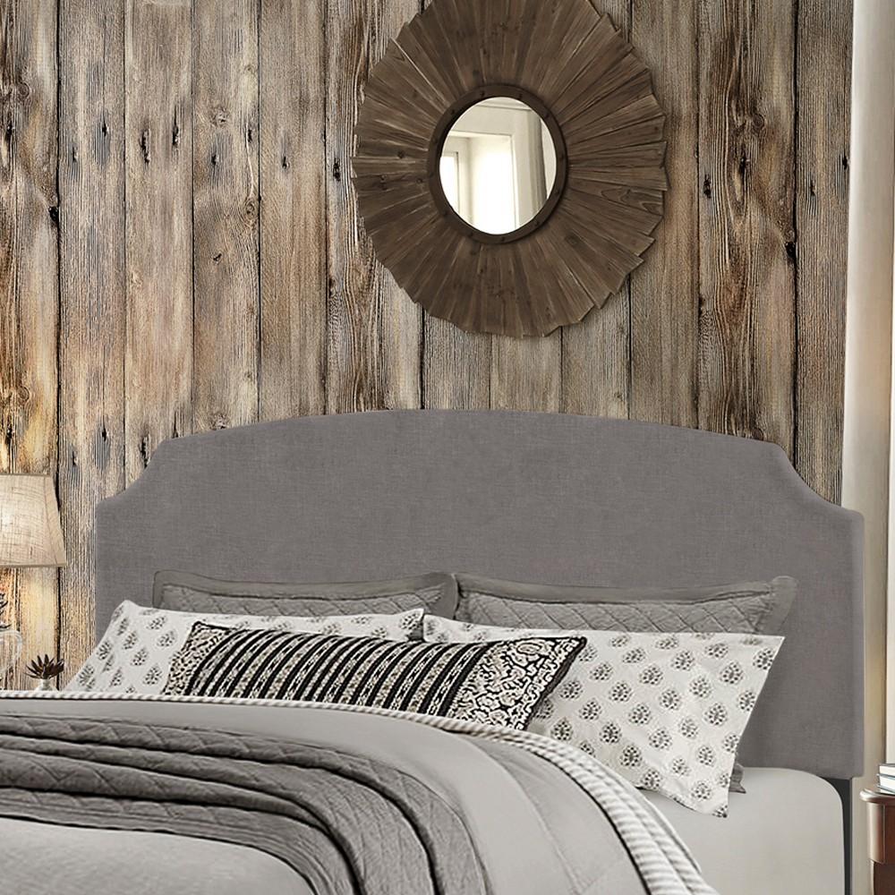 Desi Upholstered Headboard King Stone Fabric Metal Headboard Frame Not Included - Hillsdale Furniture, Gray