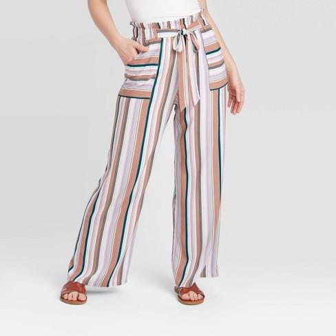 Women's Striped Tie Waist Paperbag Waist Pants - Xhilaration™ - image 1 of 2