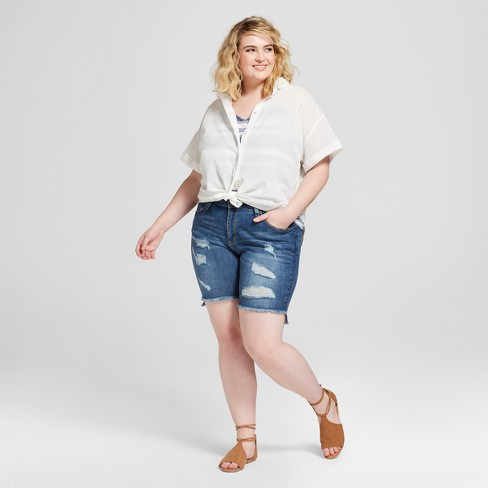 Womens Plus Size Destructed Bermuda Jean Shorts Universal Thread