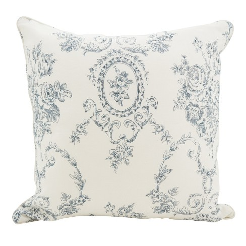 """Saro Lifestyle 20""""x20"""" Floral Fancy Linen Down Filled Throw Pillow Blue - image 1 of 2"""