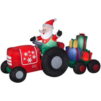 Gemmy Christmas Airblown Inflatable Santa on Tractor w/Presents Scene, 4.5 ft Tall, Multicolored