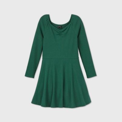 Girls' Rib-Knit Long Sleeve Dress - art class™
