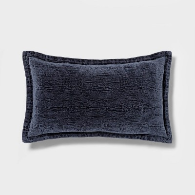Washed Chenille Lumbar Pillow Navy - Threshold​™
