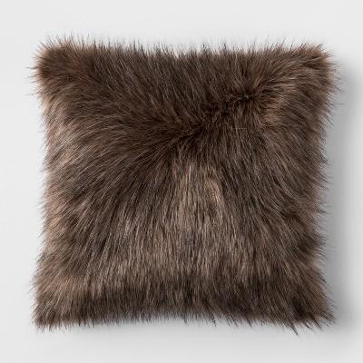 Faux Fur Square Throw Pillow Brown - Threshold™