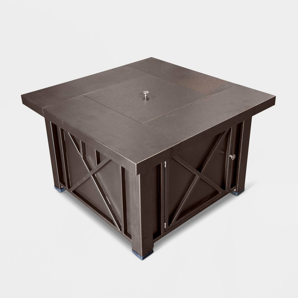 Square Steel Propane Fire Pit with Decorative Metal Work - Brown - AZ Patio Heaters