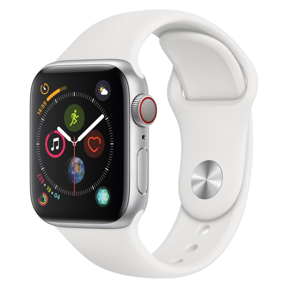 Apple Watch Series 4 Gps & Cellular 40mm Silver Aluminum Case with Sport Band - White, White Sport Band