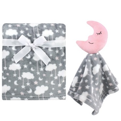 Hudson Baby Infant Girl Plush Blanket with Security Blanket, Moon Girl, One Size