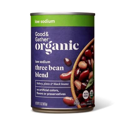 Organic Low Sodium 3 Bean Blend - 15oz - Good & Gather™