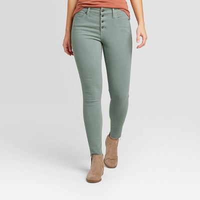 Women's High-Rise Raw Hem Ankle Skinny Jeans - Universal Thread™ Turquoise Green
