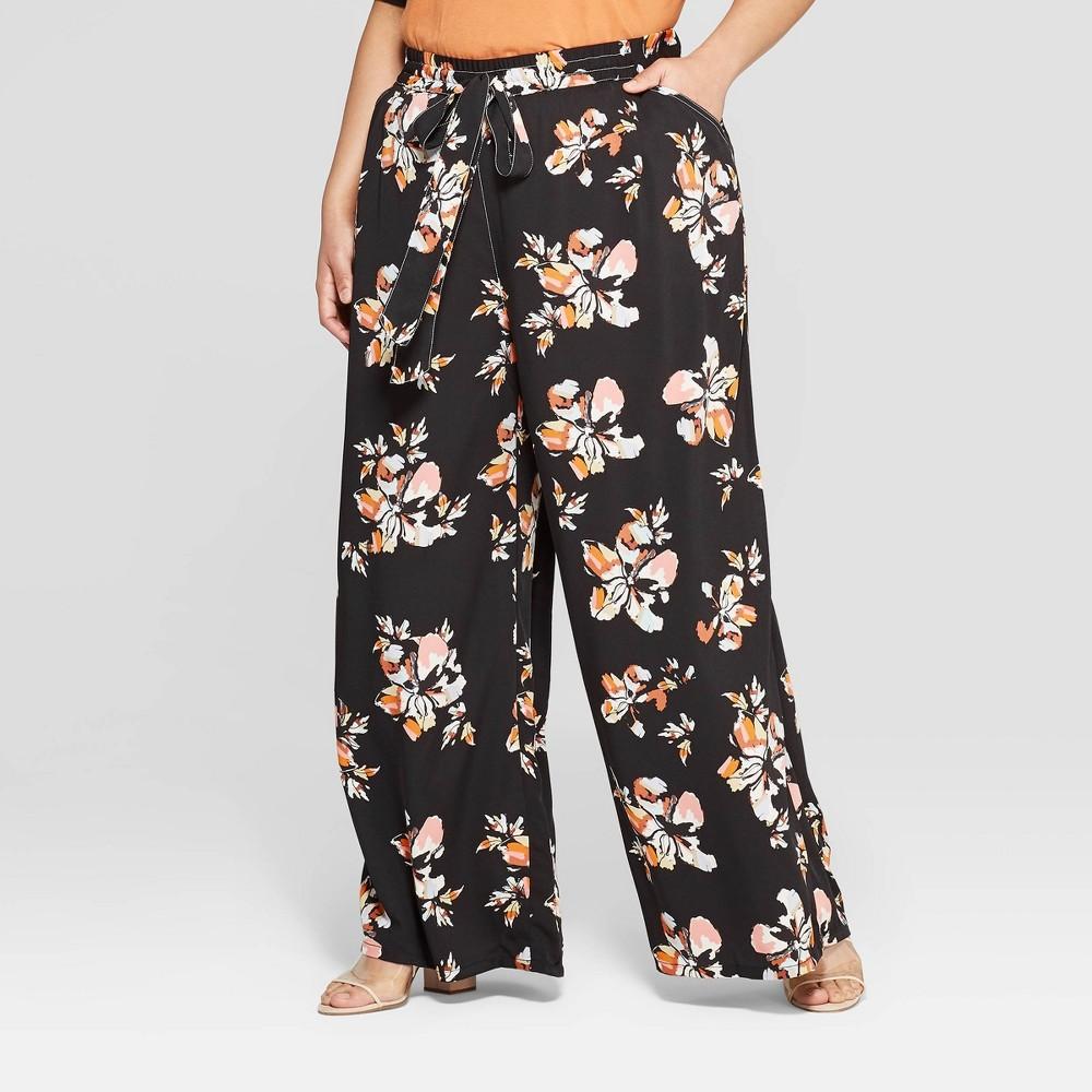 Women's Plus Size Floral Print Wide Leg Pants - Who What Wear Black 1X