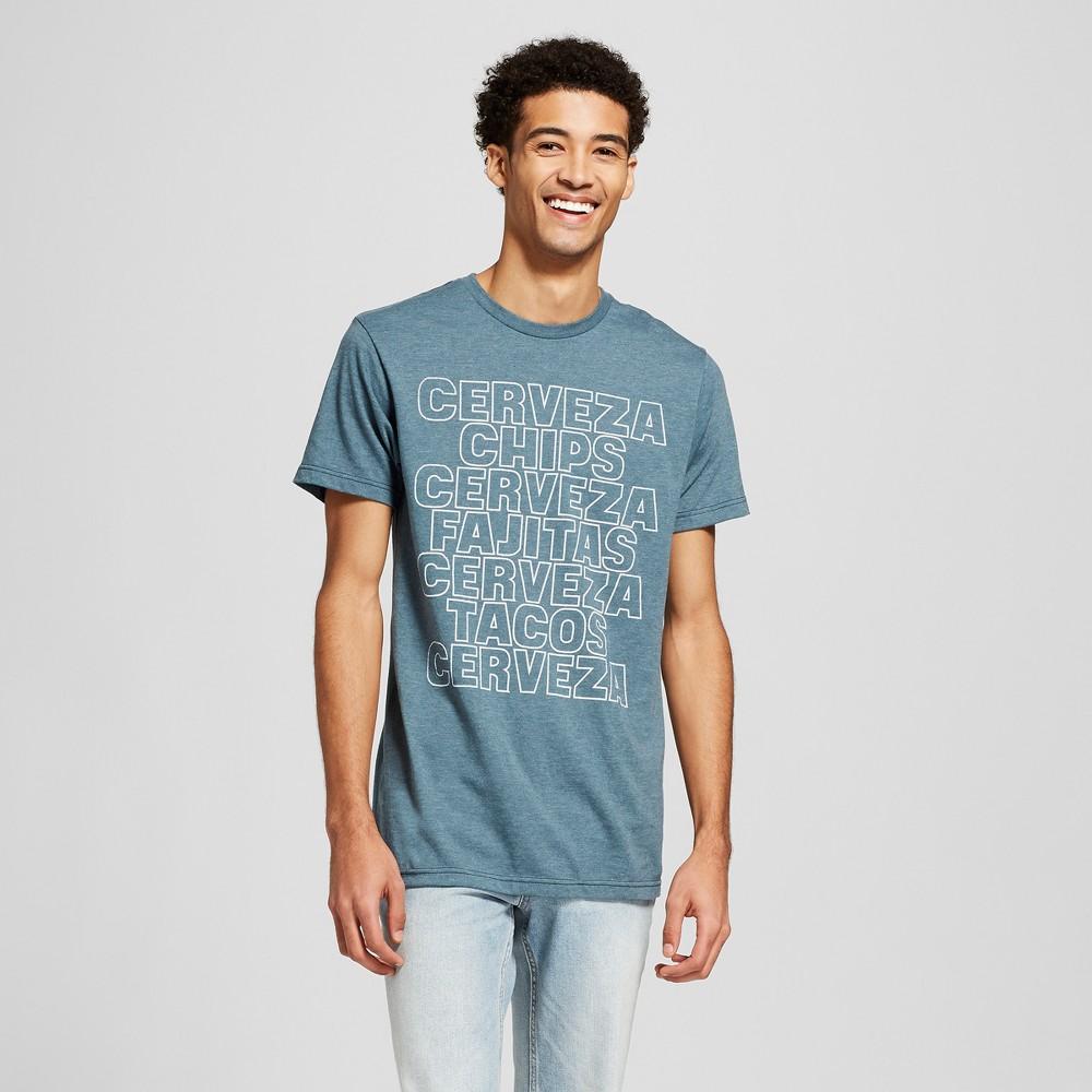 Men's Short Sleeve Cerveza Repeat Graphic T-Shirt - Awake Navy L, Blue